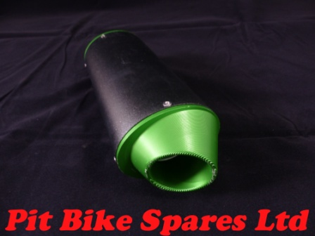 Pit Bike Green CNC Oval Exhaust. Fits 50cc to 140cc CRF50 Bikes