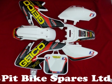 Pit Bike Geico Graphics Kit Fitted To White CRF50 Plastics.