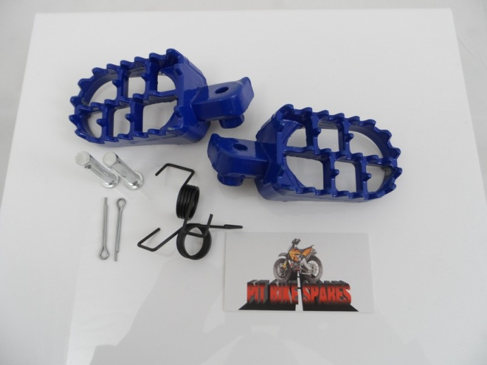 Blue Alloy Footpegs With Springs & Pins