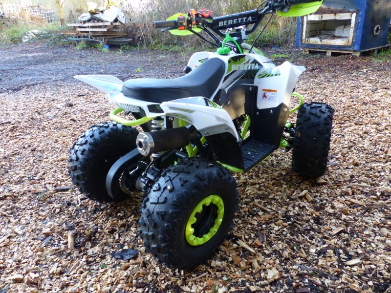 White & Green 110cc 4 Stroke Forward & Reverse Childs Quad